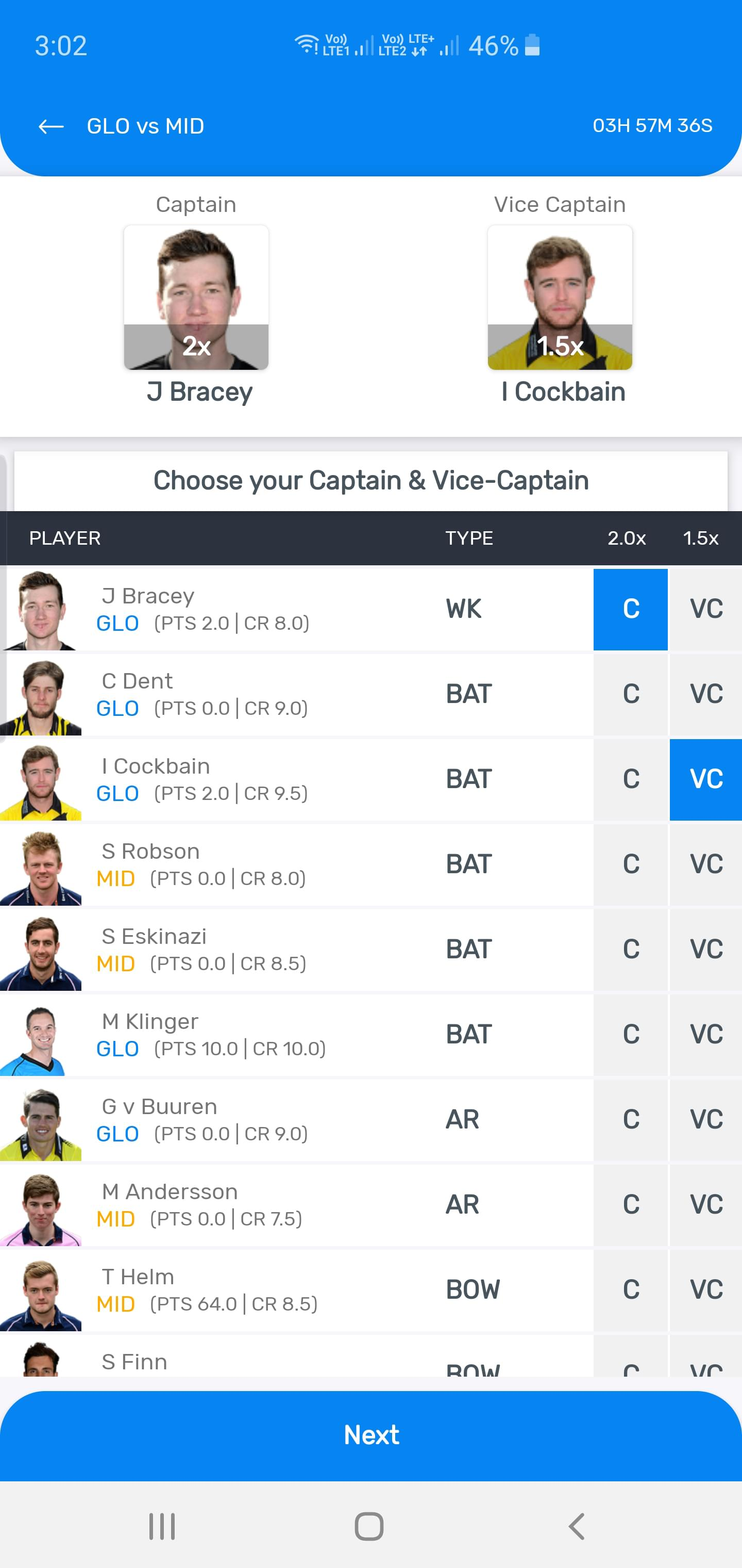myteam11 android app captain and vice captain select